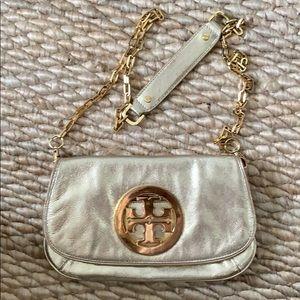 Gold Tory Burch Reva bag